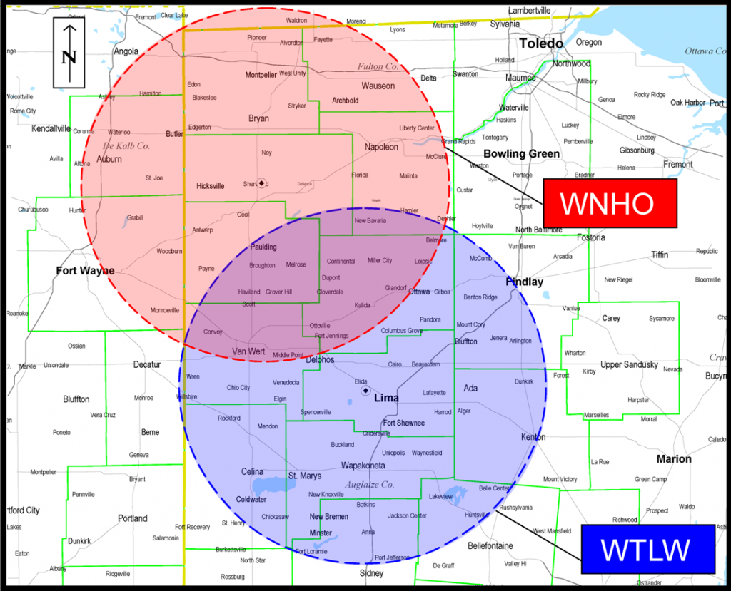 WTLW & WNHO Coverage Map